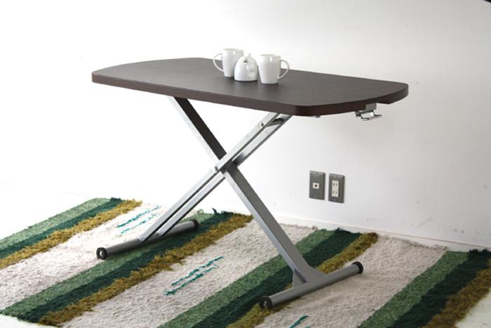 【送料込】【昇降式テーブル】幅120cm 高さ39~74cm スムーズな昇降が可能なガス圧式移動がしやすいように車輪付きですよ お掃除の時にラクですね!ガス圧式リフティングテーブル