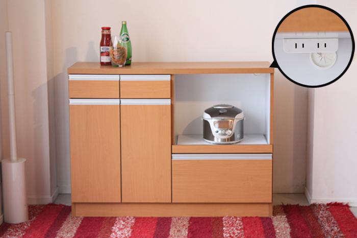 キッチンカウンター 日本製家具 120 カウンターレンジ 幅120cm 高さ89cm 食器棚 キッチン収納 収納 食器 小物 リビング収納 スライドレール コンセント付 シンプル ナチュラル ブラウン