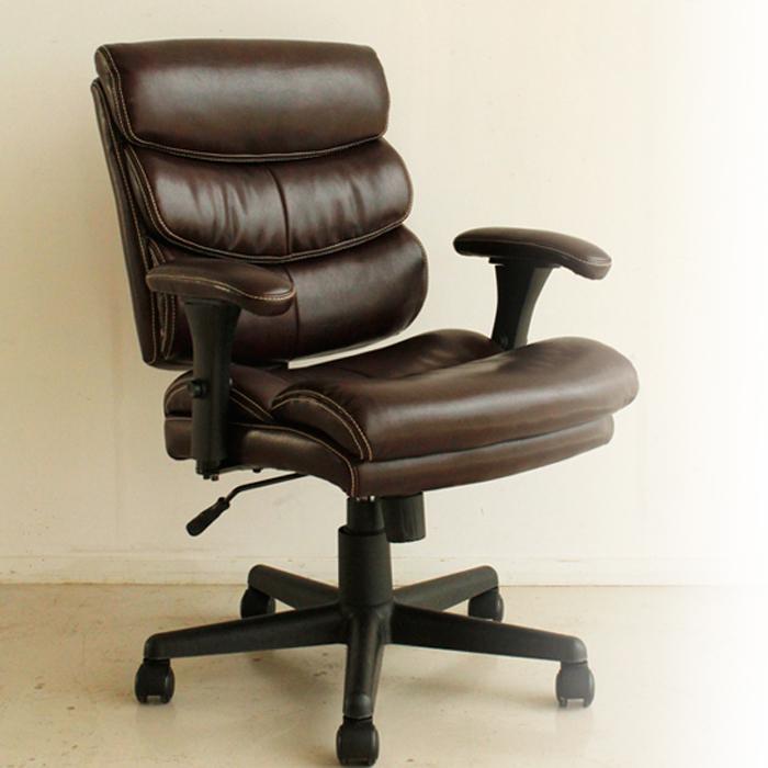 チェアー 幅66 オフィス チェア 椅子 ブラウン ふかふか 幅66cm レトロ なつかしい リサイクルレザー 高機能