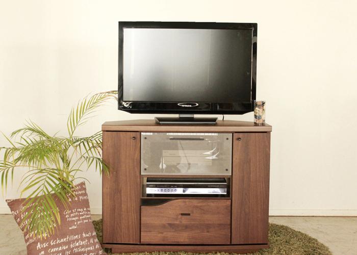 送料込 テレビボード 幅90 コーナーテレビ台 おしゃれ 北欧 木製 完成品 ブラウン 日本製 大川家具 国産