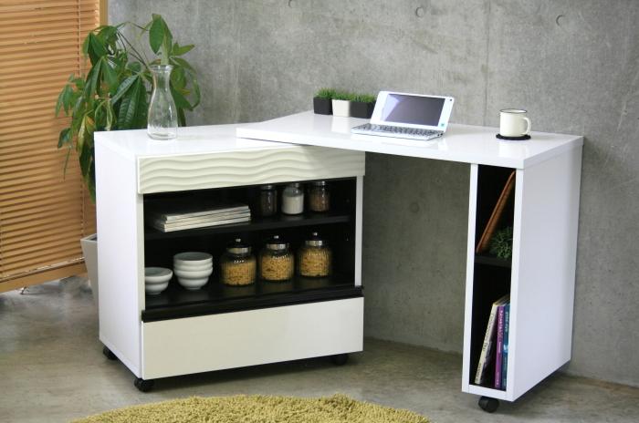 送料込 日本製家具キッチンデスク 見たことないような個性的なスタイリッシュデザイン! キッチンとワークスペースを見事に融合! 幅90cm 最新キッチンデスク