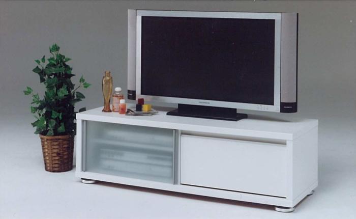 【送料込】【日本製】【TVボード】 ホワイトとブラウンの2タイプ 左側のガラス扉が印象的 幅120cm テレビボード