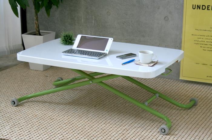 【送料込】【リビングテーブル】 昇降調整可能な折り畳み式リビングテーブル パソコンなどを置いてもOKですよ♪ 場所をとらない 幅90cm リビングテーブル 【smtb-MS】