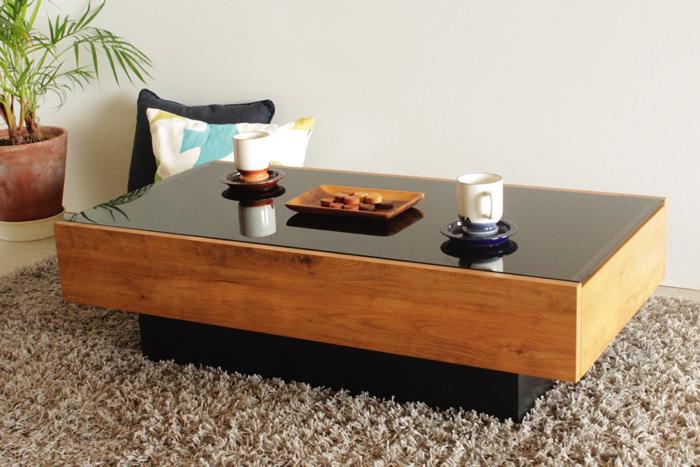 センターテーブル 幅105 おしゃれ モダン 北欧 北欧モダン ローテーブル リビングテーブル テーブル 木製 ガラス天板 黒ガラス 引き出し付