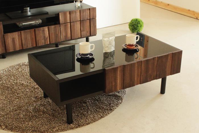 センターテーブル 幅105 おしゃれ ガラス ローテーブル リビングテーブル アカシア集成材 木製 古木風 レトロ カントリー