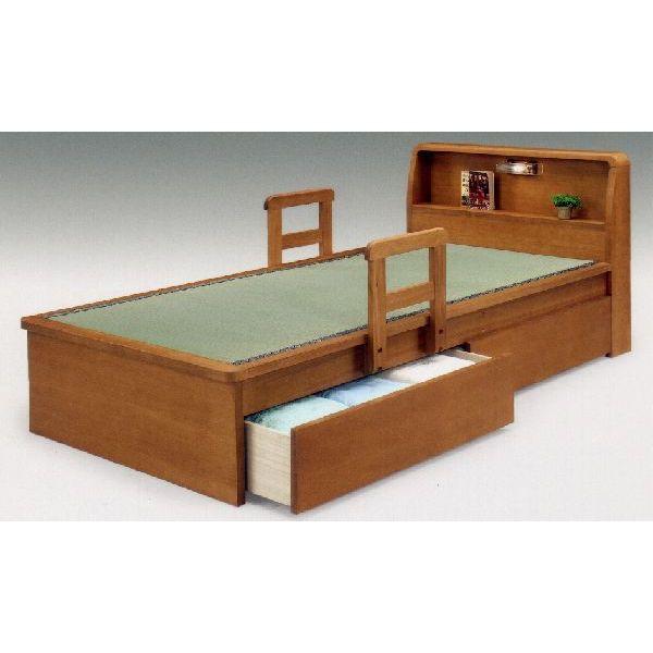 スーパーSALE限定【10%OFF】畳ベッド 平戸3型(引出し付き) シングル畳ベッド/引出し付き 収納 手摺り付き