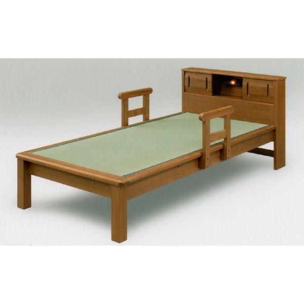 ベッド シングルベッド フレーム 畳ベッド 宮付き 手摺り付き ライト付き 和風ベッド 木製 シンプル