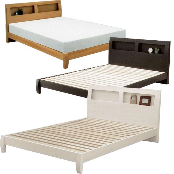 ベッド すのこベッド セミダブルベッド ベッドフレーム/木製ベット 棚付き セミダブル シンプルデザイン 3色対応