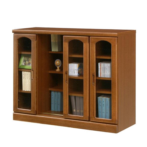 本棚 書棚 スライド式 ロータイプ 国産 ブラウン 収納 木製 書斎