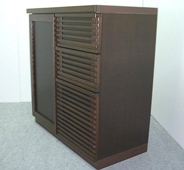 スーパーSALE限定【10%OFF】カウンター リビング収納 収納家具 幅90cm 収納棚 飾り棚 ブラウン