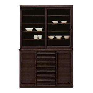 食器棚 キッチン収納 幅120cm ダイニングボード 木製 ブラウン