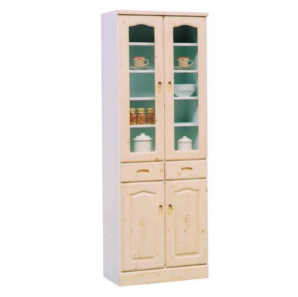 食器棚 ダイニングボード 幅60cm ホワイト カップボード キッチン収納 木製 パイン材