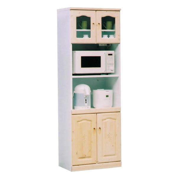 レンジボード 食器棚 レンジ収納 幅60cm ホワイト キッチン収納 台所収納 パイン材
