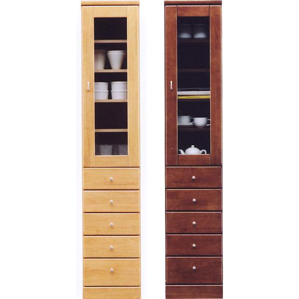 食器棚 スリム型 幅35cm ガラス扉 引出しタイプ 隙間収納 キッチンすきま収納 国産 キッチン収納