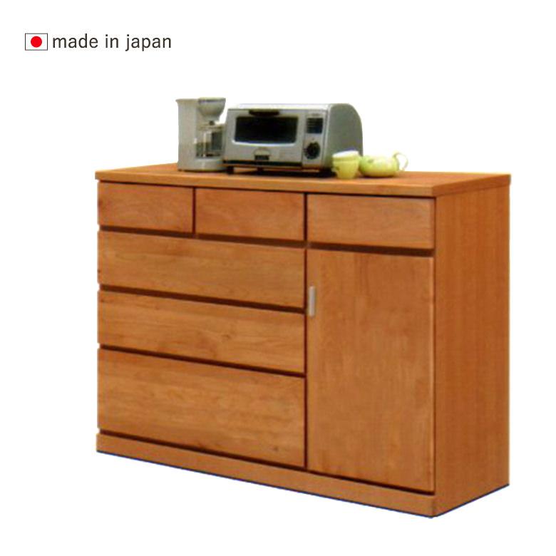 【スーパーSALE限定10%OFF】120キッチンカウンター 幅120cm ライトブラウン 日本製 完成品 アルダー材 自然塗装