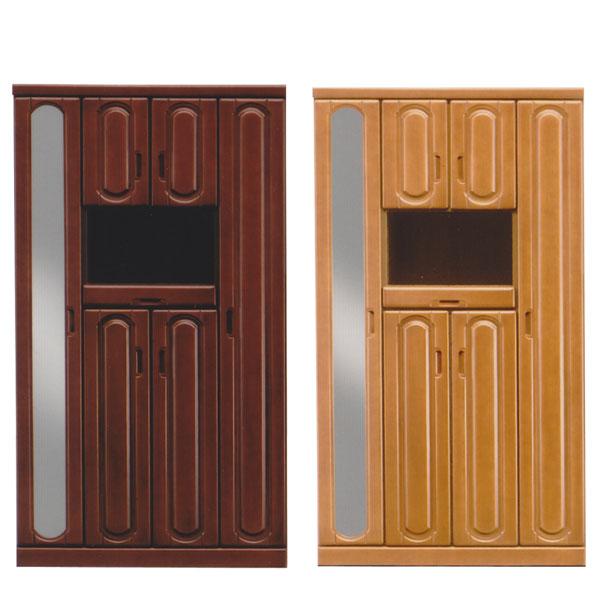 シューズボックス ミラー付き 下駄箱 靴箱 幅100cm ダークブラウン ライトブラウン 2色対応 玄関収納 ハイタイプ