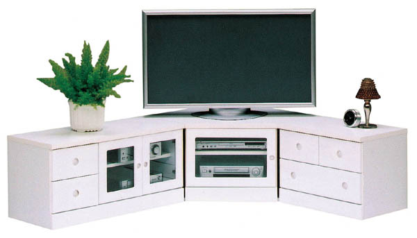 コーナー3点セット テレビボード ホワイト エナメル コーナーTVボード テレビ台 AV収納 引出し