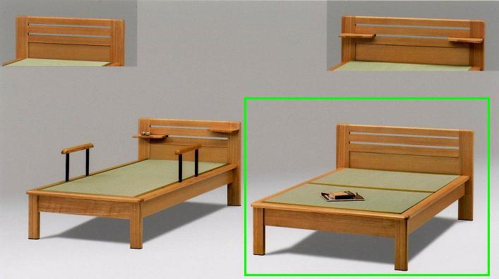 畳ベッド ダブルベッド 木製 仁ヘッドシェルフ、手摺りなし ダブル畳ベッド ナチュラル