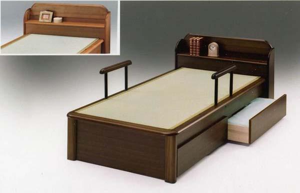 畳ベッド 引き出し付き 木製 ノアII 棚、手摺り、引き出し付き シングルベッド ブラウン/ライト