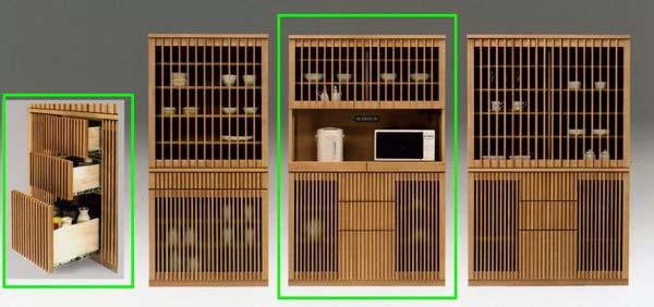 食器棚 キッチン収納 和風 モダン タモ 木製 山水120オープン食器棚 ナチュラル 【 開梱設置無料 】