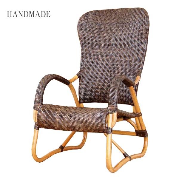 ラタンチェア 籐チェア アジアンチェア 完成品 肘付き ハイバック 椅子 パーソナル ダイニングチェア 高座椅子 木製 籐椅子 籐家具
