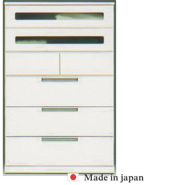 チェスト 完成品 ハイチェスト タンス 衣類収納 幅90cm ホワイト 白 (開梱設置無料)