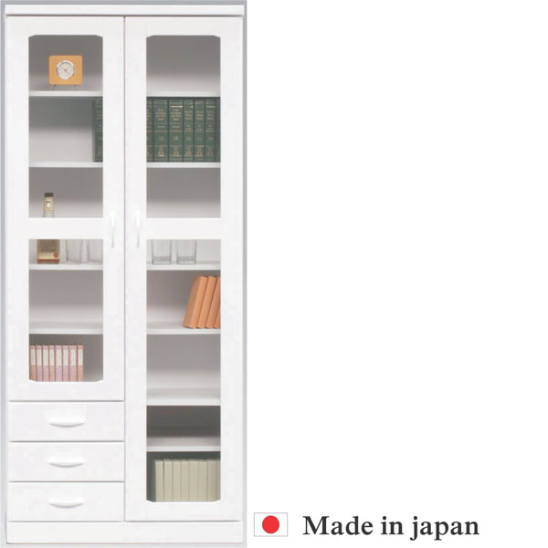 本棚 書棚 キャビネット 飾り棚 ブックシェルフ 木製 幅80cm フリーボード ホワイト 送料無料 【 開梱設置無料 】