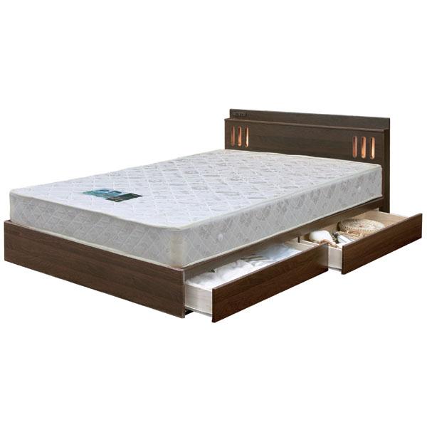 ベッド フレームのみ ダブルベッド 収納付 引き出し付 シンプル モダン 北欧 ベーシック ブラウン 宮付き ライト付 コンセント付 床板布張り 引出スライドレール付き MDF Dベッド