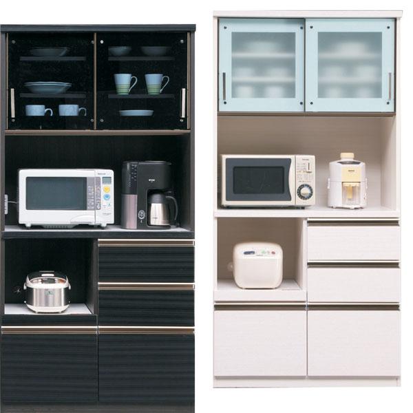 食器棚 引き戸タイプ キッチン収納家具 レンジ台 木製 92 コンセント付き 選べる ホワイト ブラック おしゃれ お洒落