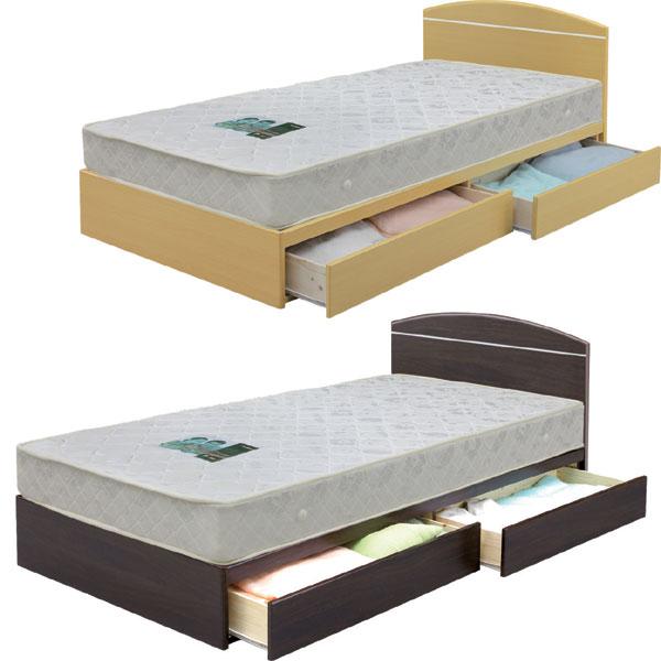 ベッド フレームのみ シングルベッド 収納付 引き出し付 シンプル モダン 北欧 ベーシック 選べる2色 ブラウン ナチュラル MDF フラットヘッドボード ワンルーム 一人暮らし 新生活 1K