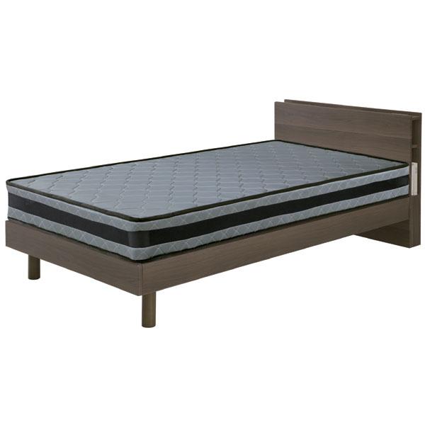 ベッド フレームのみ シングルベッド MDF シート張り スノコ仕様 シンプル ベーシック カジュアル ブラウン 機能的 ベッドフレーム 2口コンセント LED照明 シンプル 北欧 モダン