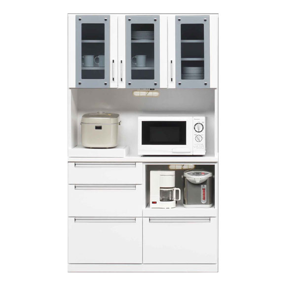 食器棚 レンジ台 105レンジボード キッチン収納 鏡面 ホワイト ハイレンジボード 【 開梱設置無料 】