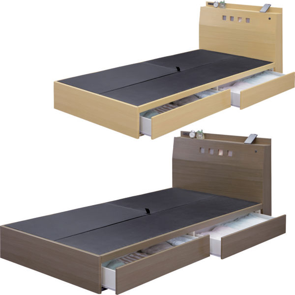ベッド フレームのみ シングルベッド 収納付 引き出し付 宮付き コンセント付 ライト付 MDF 木目シート張り ボックスタイプ 引出2杯 箱組 スライドレール付 シンプル モダン ワンルーム 一人暮らし 新生活 1K