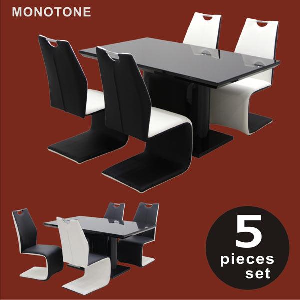 ダイニングテーブル 5点セット 4人掛け リビング カンティレバーチェア ダイニング5点セット ブラックガラス 北欧スタイル PU座面 チェア モノトーン シンプル モダン カジュアル