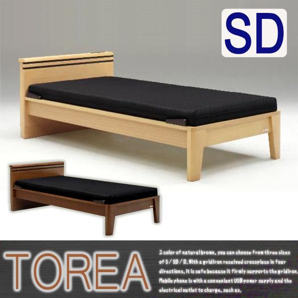 ベッド セミダブルベッド すのこベッド 北欧 ベッドフレームのみ 木製 コンセント付き