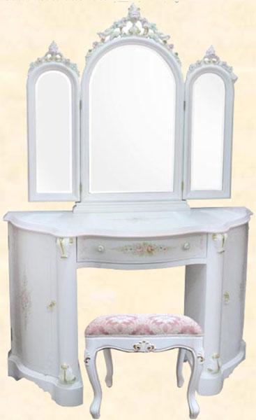 ドレッサー 鏡台 デスク 化粧台 木製 アンティーク クラシック スツール付 ホワイト 花柄 幅120cm MDF 送料無料