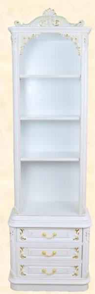 本棚 書棚 フリーボード シェルフ キャビネット アンティーク調 幅60cm ホワイト MDF クラシック 送料無料