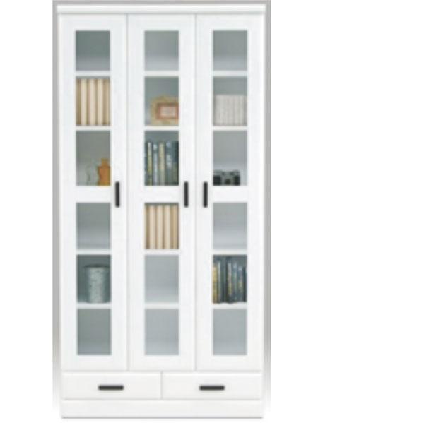 【 開梱設置無料 】本棚 書棚 キャビネット 飾り棚 ブックシェルフ 木製 幅90cm 鏡面 日本製 フリーボード ホワイト 大川家具 送料無料