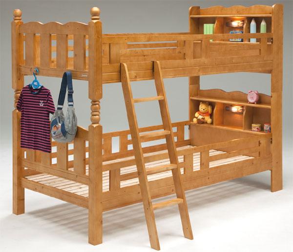 二段 ベッド 2段ベッド 2段ベット スノコ 木製 二段ベッド ライトブラウン パイン ライト付 宮付 シンプル モダン 送料無料