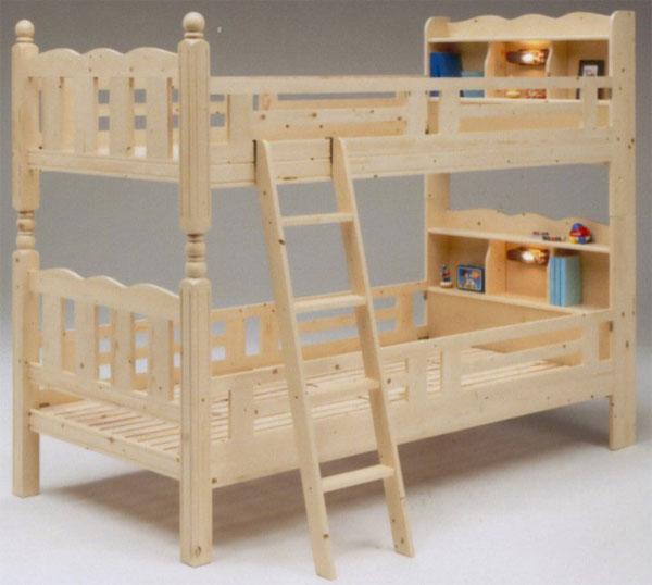 二段 ベッド 2段ベッド 2段ベット スノコ 木製 二段ベッド ナチュラル 天然木パイン ライト付 宮付 シンプル モダン 送料無料