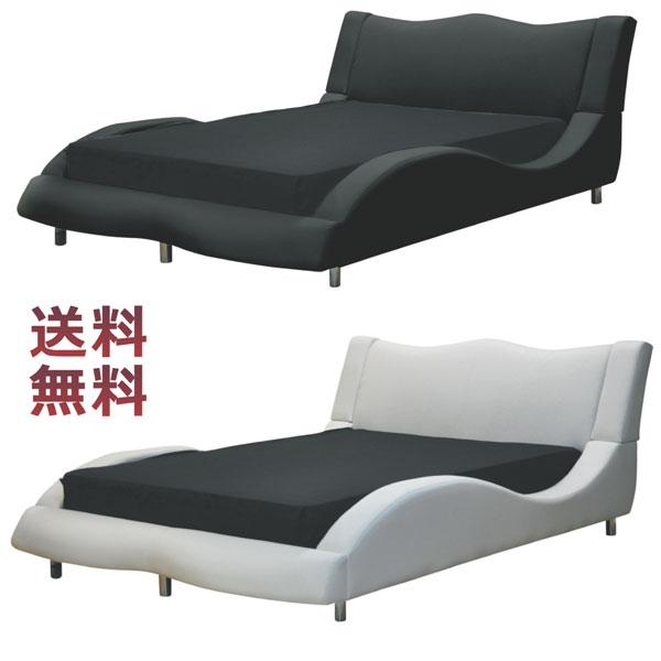 ローベッド フロアベッド ダブル ロータイプ ダブルベッド フレームのみ フロアベッド ローベッド PVC 合成皮革 選べる2色 ブラック ホワイト シンプル 北欧 モダン 脚付 幅146cm オシャレ 送料無料