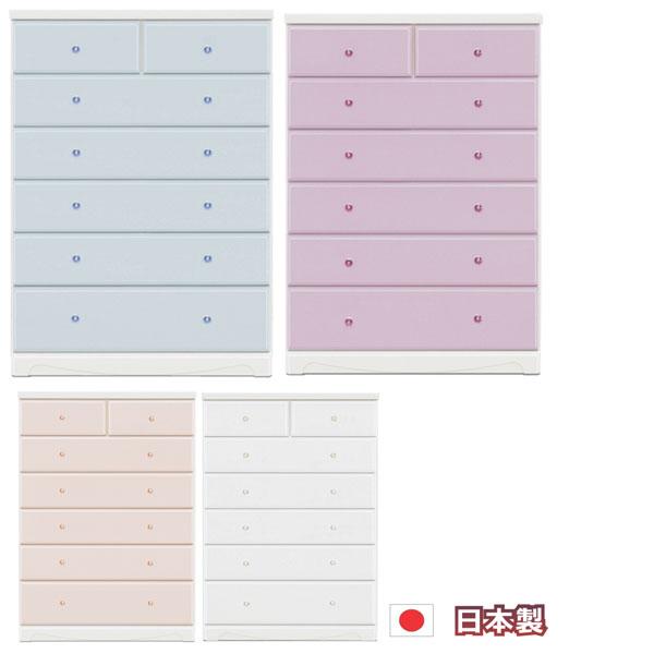 カラーチェスト 80-6段 ハイチェスト タンス チェスト スライドレール ホワイト ピンク パープル ブルー 選べる4色 スライドレール クリスタル調の取っ手 姫系 カジュアル ポップ ロマンチック 日本製 完成品