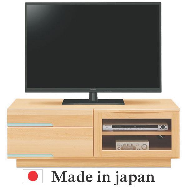 テレビ台 テレビボード 幅107cm 高さ37cm ビーチ材 フラップ扉 引き出し収納 ナチュラル ブラウン 引き出し取っ手8色 木製 ビーチ 北欧 ポップ カジュアル モダン シンプル ベーシック 大型テレビ対応 日本製 完成品 送料無料