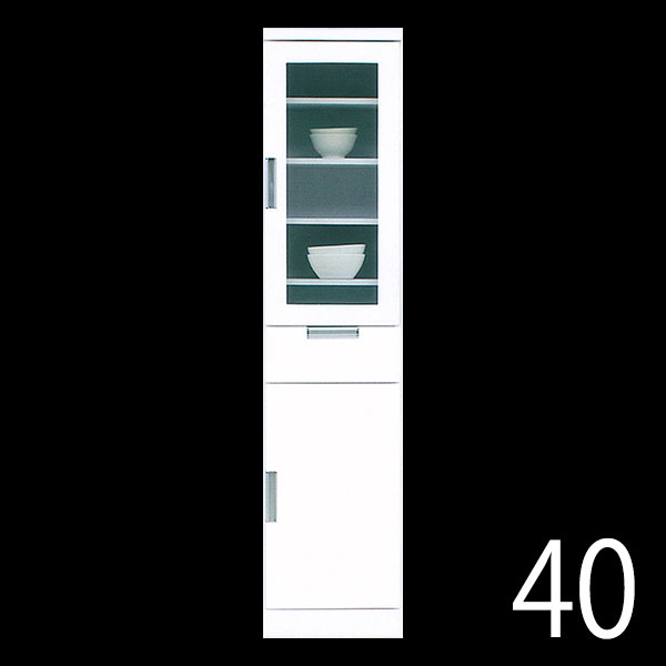 キッチンすきま収納 すき間収納 隙間 幅40cm 奥行40cm 高さ180cm ハイタイプ ホワイト 鏡面 光沢 ツヤ 白 キッチン収納 ランドリー収納 スリム収納 隙間収納 すきま 上段ガラス扉 中段は引出 下段は板扉 完成品 北欧 モダン シンプル 日本製 大川家具