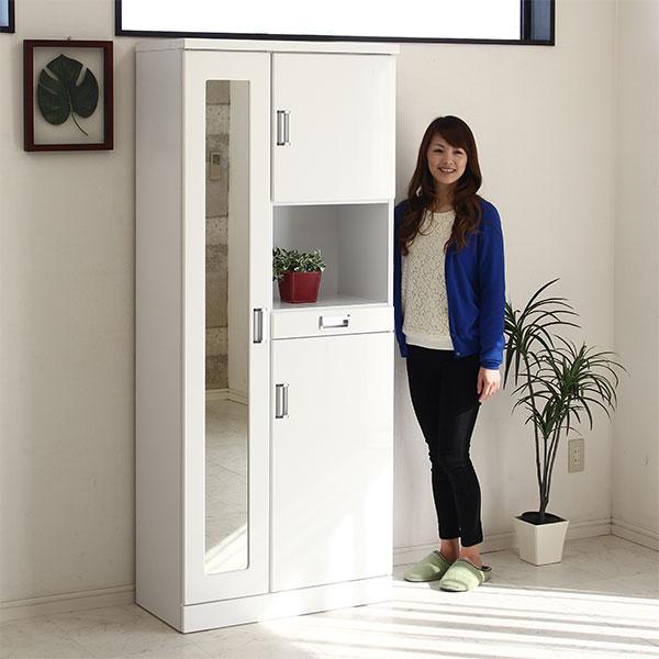 下駄箱 シューズボックス 幅75cm 完成品 ホワイト鏡面 白 北欧 靴箱 玄関収納 姿見付 ハイタイプ ミラー 日本製