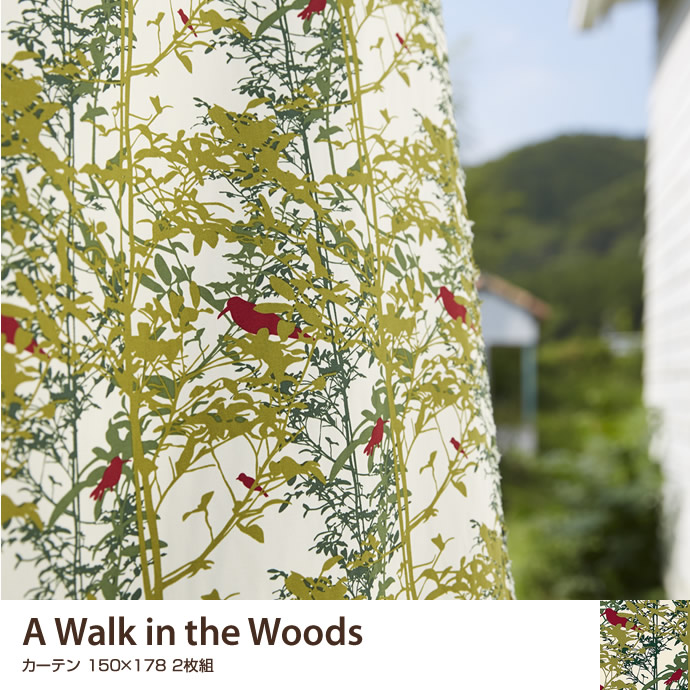 A Walk in the Woods サイズ 可愛い ファブリック ベーシック 150×178 オシャレ 窓 北欧 既製カーテン 綿100% ナチュラル 日本製 綿 2枚 おしゃれ 2枚組 柄 カーテン