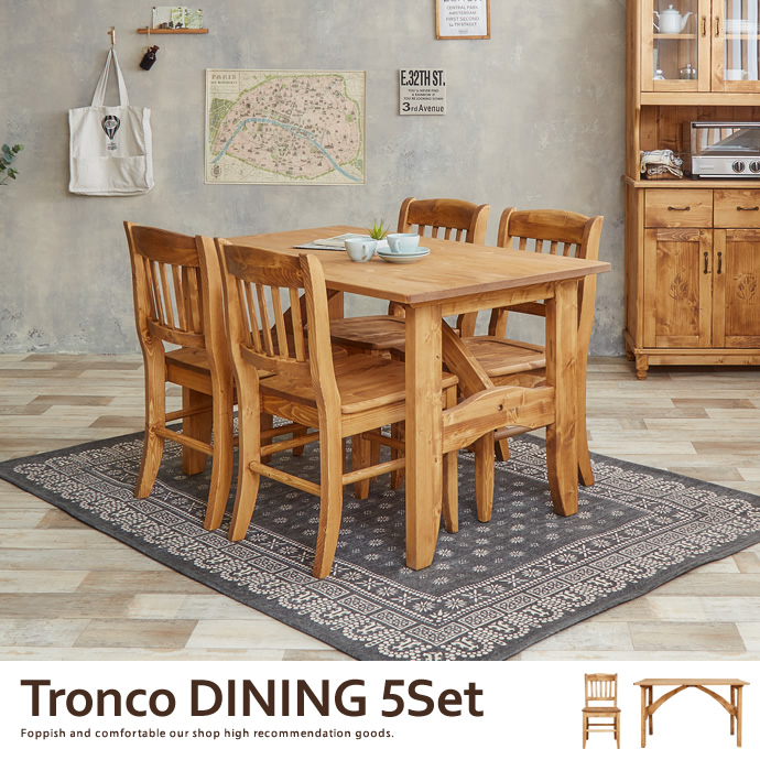 Charming 5 Point 4 Person Dining Set, Table 4 Chairs Antique Country 20% Off Dining