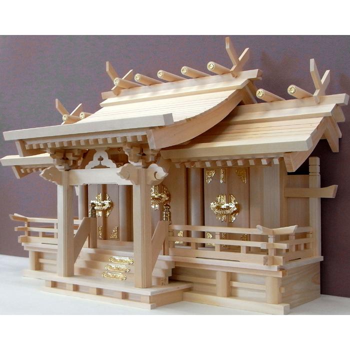 高級 神棚/木曽ひのき八幡造り御嶽特大三社