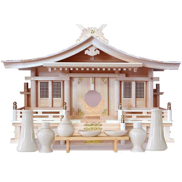 神棚セット/木曽ひのき切妻造り三社神棚/出雲/神前用具付き