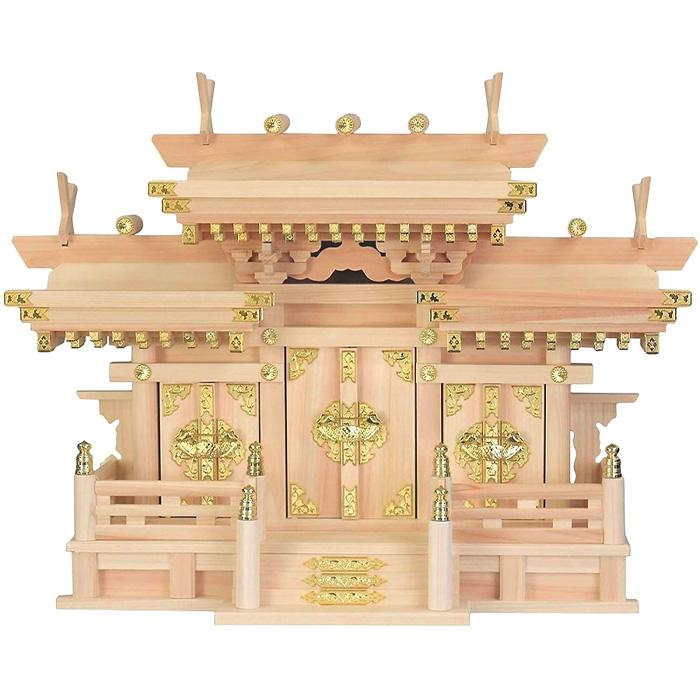 高級神棚/マス組付き屋根違い三社神棚